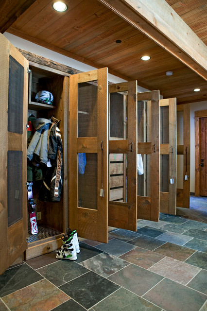 Mudroom Lockers Entry Rustic with Coat Closet Coat Cubby