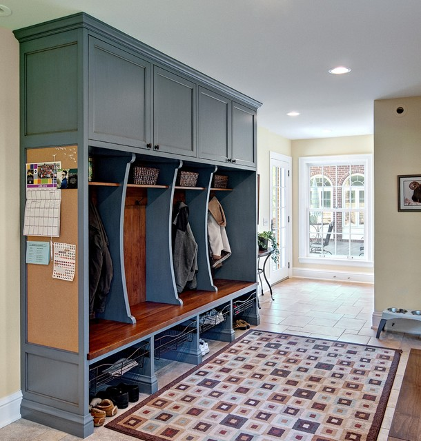 Mudroom Lockers Entry Traditional with Area Rug Basket Storage