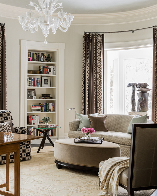Murano Glass Chandelier Home Office Transitional with Brown Curtains Comfortable Contemporary