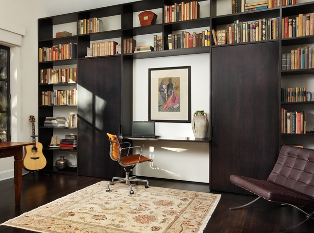 Murphy Bed Desk Home Office Contemporary with Bookshelves Brown Leather Side