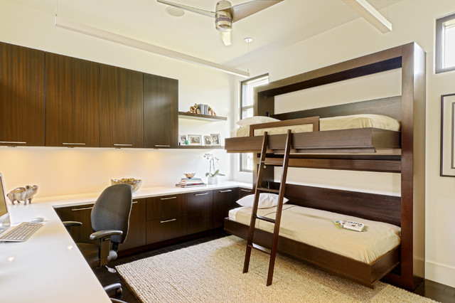murphy bunk beds Home Office Contemporary with build in bunk bed