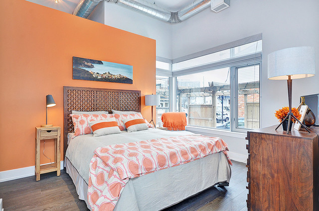 narrow bedside table Bedroom Contemporary with residential condominiums