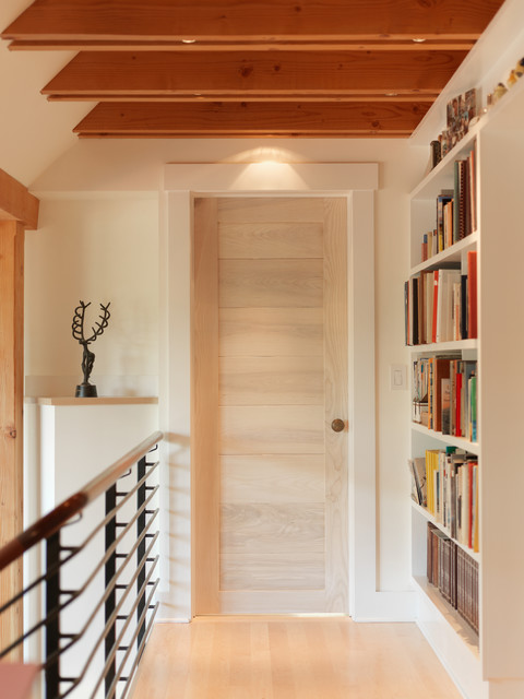 Narrow Bookshelf Hall Contemporary with Beige Wall Bookcase Bright