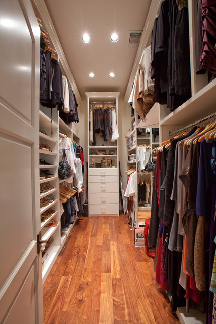 Narrow Dresser Closet Traditional with Can Lighting Double Handing