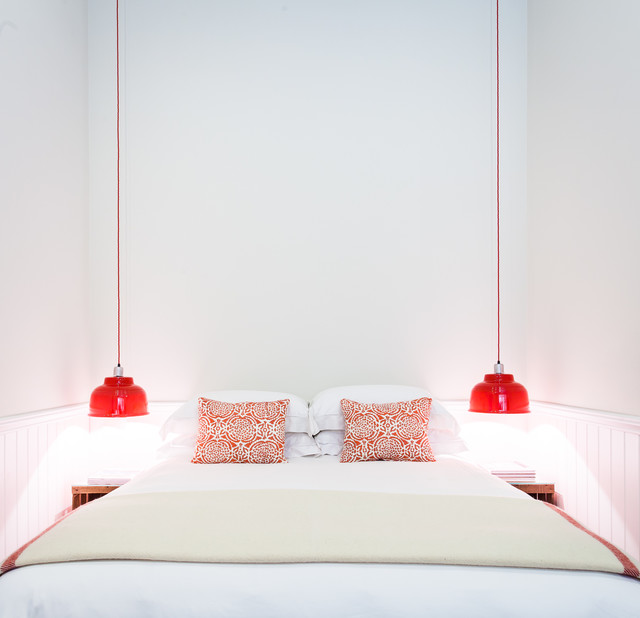 Narrow Nightstand Bedroom Beach with Coastal Red and White
