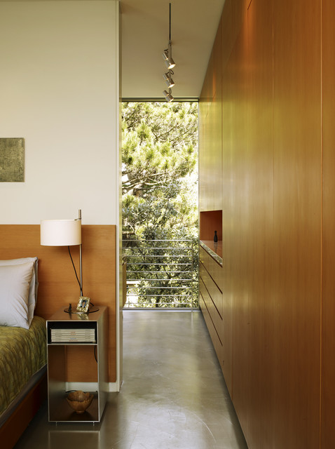 narrow nightstand Bedroom Contemporary with balcony bedside table built