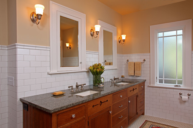 Nemo Tile Bathroom Craftsman with Dark Stained Wood Double