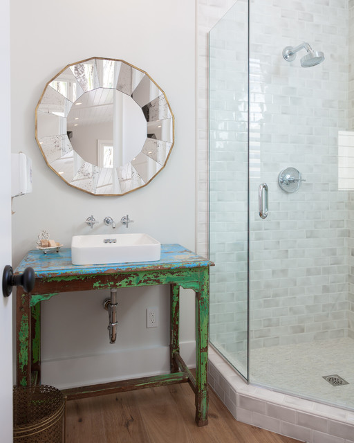 neo angle shower Bathroom Beach with blue Distressed paint green
