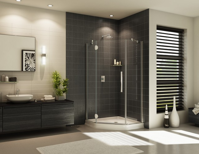 Neo Angle Shower Bathroom Contemporary with Corner Shower Corner Shower