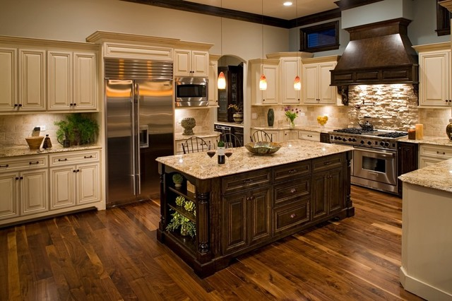 new venetian gold granite Kitchen Traditional with blue wall Clerestory crown