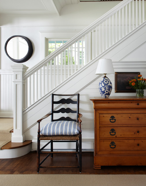 newel post Staircase Victorian with banister blue and white