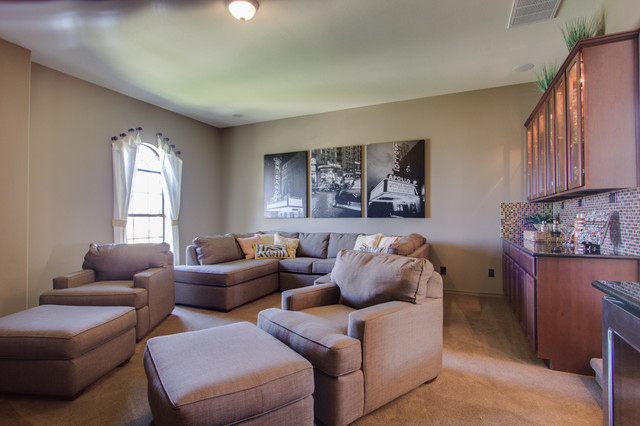 Newmark Homes Home Theater Traditional with Built in Bar Custom