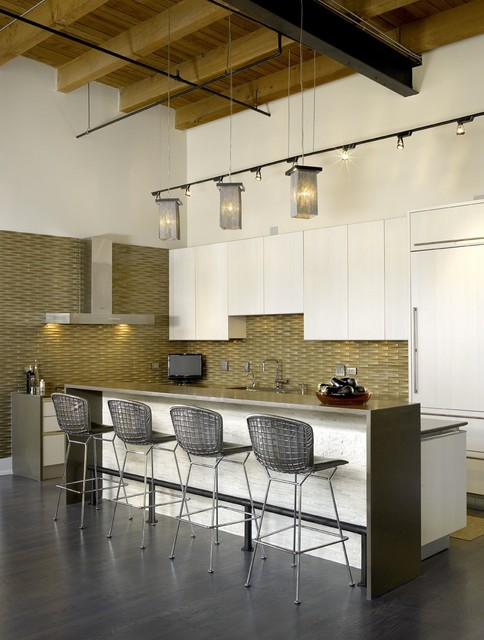 Oceanside Glass Tile Kitchen Industrial with Cabinet Front Refrigerator Ceiling