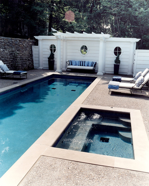 oceanside glass tile Pool Traditional with decorative pillows garden window