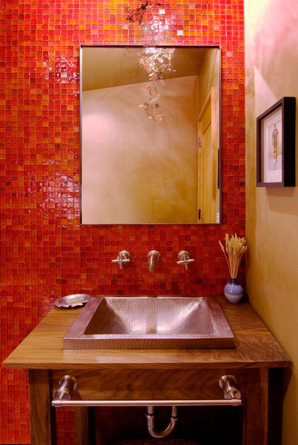 Oceanside Glass Tile Powder Room Contemporary with Accent Wall Bath Accessories