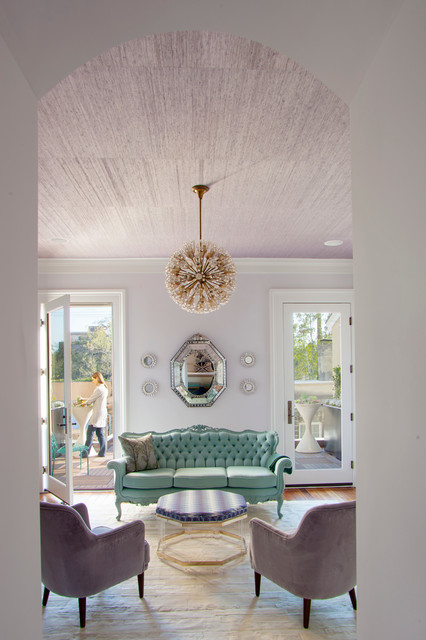 Octagon Mirror Living Room Contemporary with Analogous Color Scheme Aqua