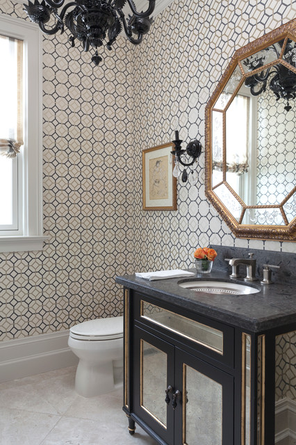 Octagon Mirror Powder Room Traditional with Black Sconces Geometric Wallpaper