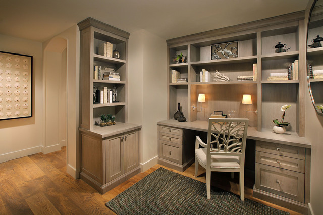 Oly Studio Home Office Traditional with Beige Built in Cabinets