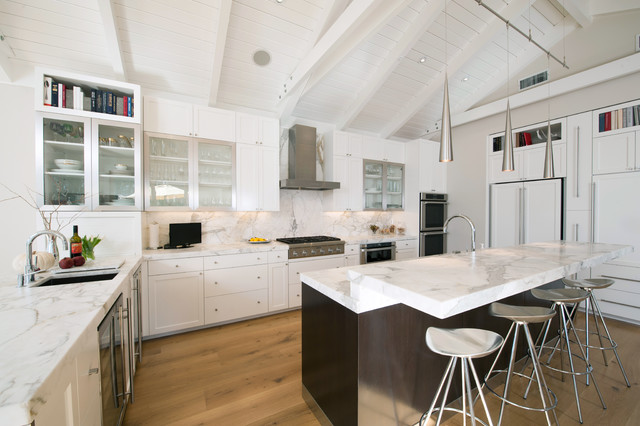 omicron granite Kitchen Contemporary with breakfast bar cathedral ceiling