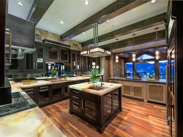 Onyx Countertops Kitchen Contemporary with Appliances Cabinetry Center Island