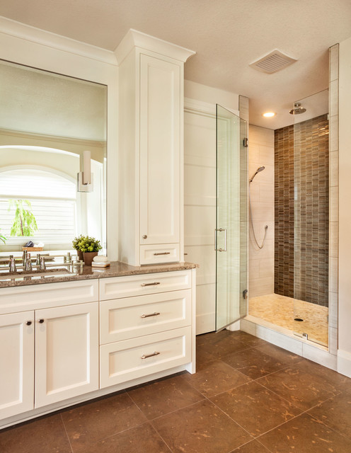 oregon tile and marble Bathroom Transitional with brown countertop brown floor