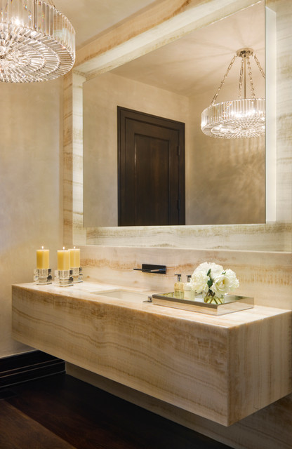 Oregon Tile and Marble Powder Room Contemporary with Candles Chandelier Floating Mirror