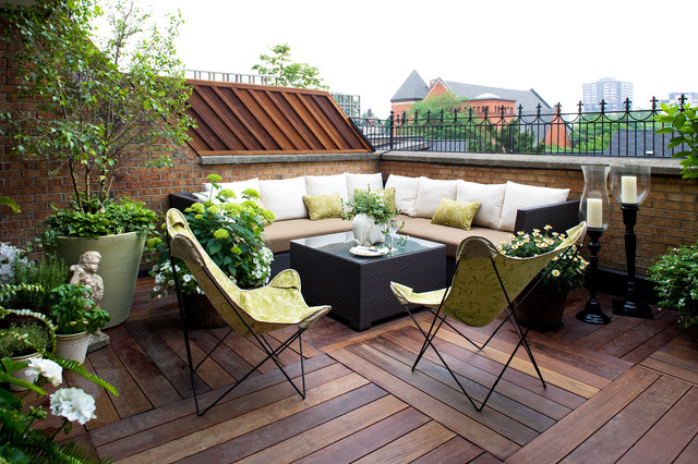 outdoor couch cushions Deck Contemporary with balcony brick brick railing