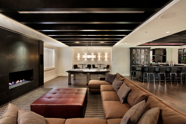 Oversized Ottoman Basement Contemporary with Bar Stools Basement Beam