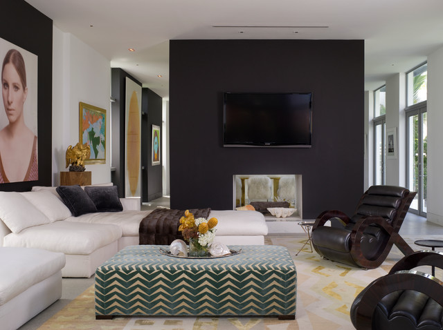 Oversized Ottoman Living Room Contemporary with Art Barbara Streisand Beige