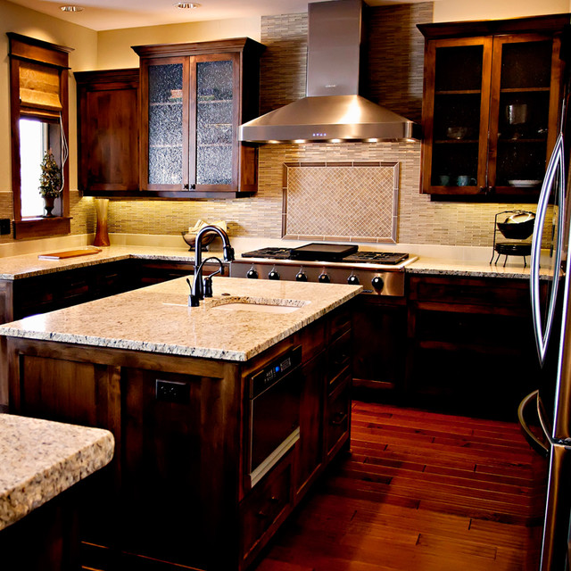 Pahlisch Homes Kitchen Contemporary with Custom Backsplash Granite Slab