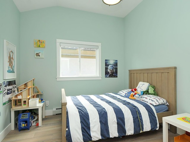 palladian blue Kids Contemporary with artwork baseboards Bedroom blue