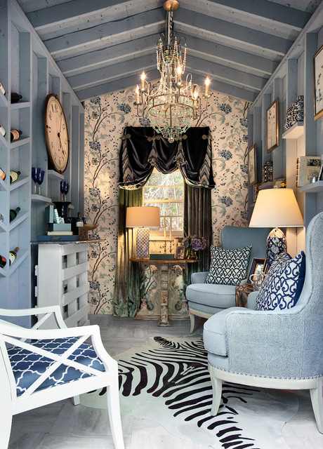 Pallet Shed Living Room Eclectic with Blue Armchairs Blue Walls
