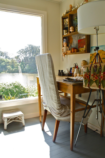 parson chair covers Home Office Eclectic with desk floor lamp grey