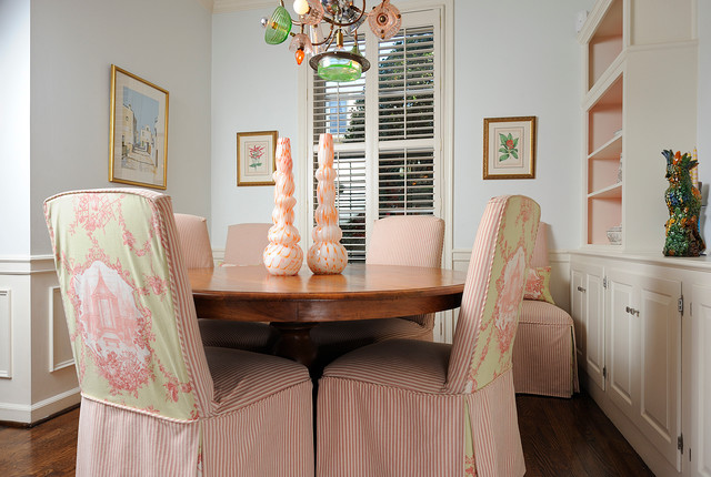 parsons chair slipcovers Dining Room Eclectic with artwork built-in cabinets chair