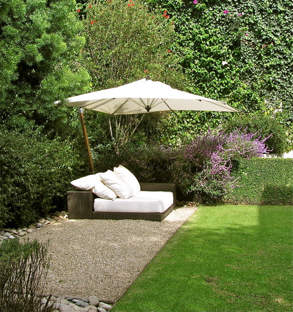 Patio Umbrella Base Landscape Contemporary with Gravel Hedge Lawn Lounge