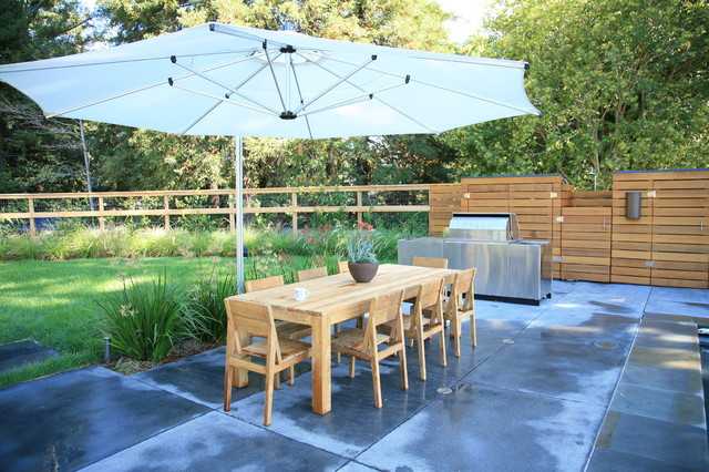 patio umbrella base Landscape Modern with BBQ concrete dining table
