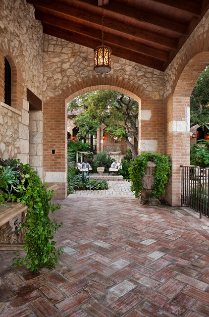 Paver Patterns Patio Mediterranean with Arch Arched Window Brick
