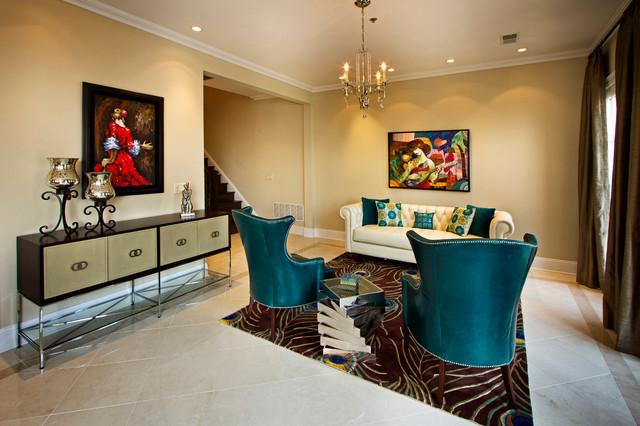 peacock rug Living Room Contemporary with area rug artwork ceiling