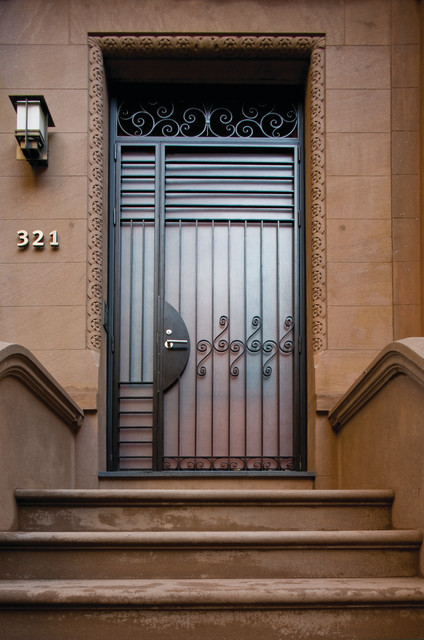 Pella Storm Doors Entry Contemporary with Brownstone Custom Wood Handrails
