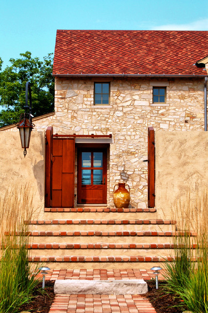 Pella Storm Doors Entry Rustic with Barn Door Brick Paving