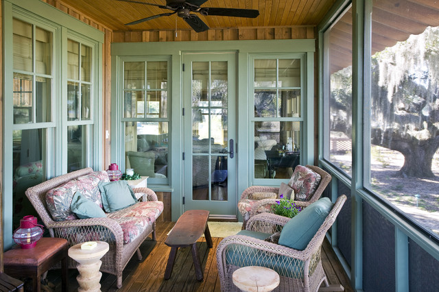 Pella Storm Doors Porch Rustic with Bench Ceiling Fan Craftsman