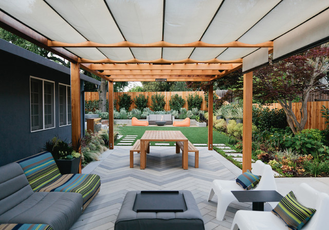 Pergola Canopy Patio Contemporary with Arbor Artificial Turf Board
