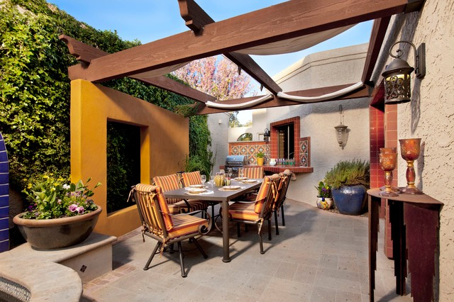 Pergola Canopy Patio Mediterranean with Blue Pot Outdoor Dining