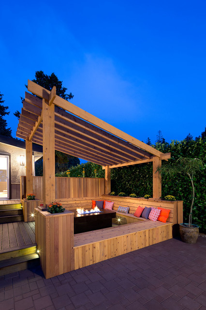 Pergola Plans Deck Transitional with Accent Pillows Bench Seat