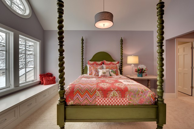 Persimmon Color Bedroom Contemporary with Baseboards Beige Carpet Built