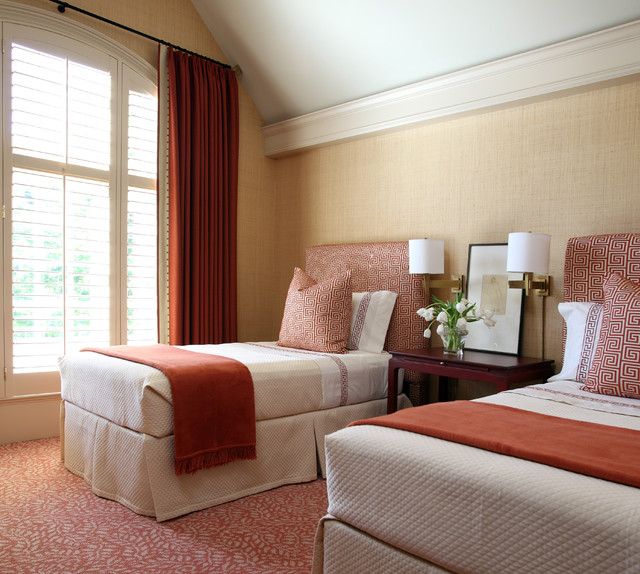 Persimmon Color Bedroom Traditional with Beige Bedding Beige Sham