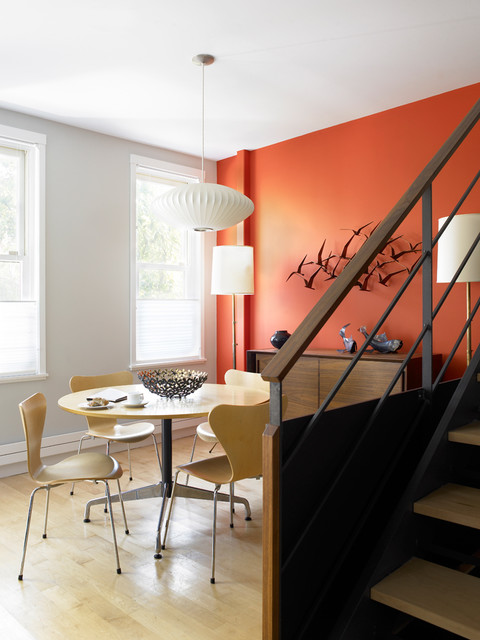 Persimmon Color Dining Room Midcentury with Dining Area Floor Lamp