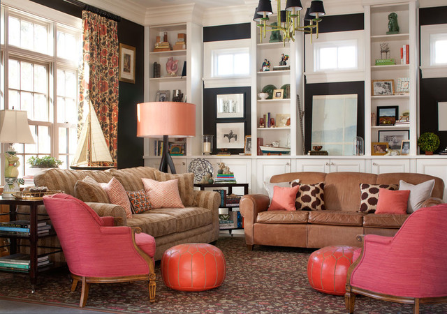 Persimmon Color Family Room Traditional with Armchair Black Paint Black