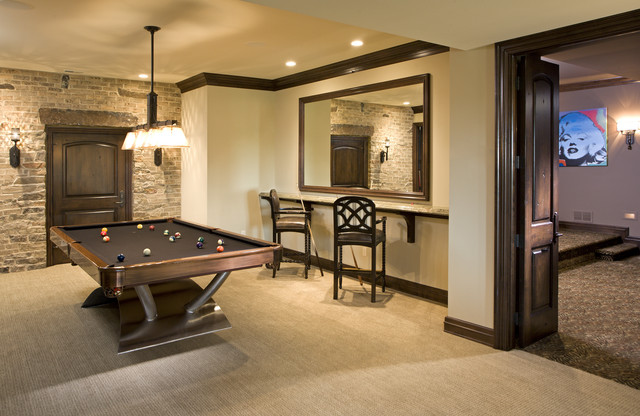Peters Billiards Basement Traditional with Bar Area Baseboards Basement