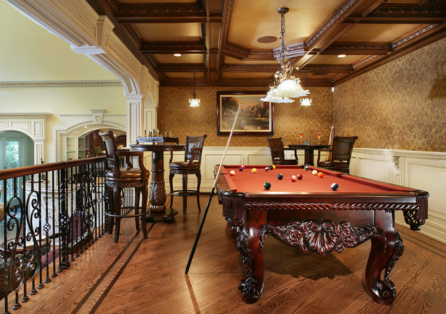 Peters Billiards Family Room Traditional with Balcony Billiar Light Billiards